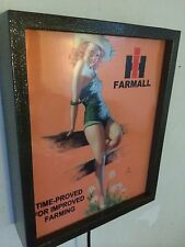 IH Farmall Pin-up Girl Tractor Barn Farm Vintage Style Man Cave Lighted Sign