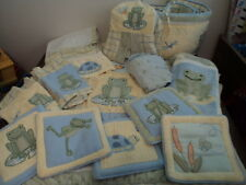 KIDSLINE CRIB BEDDING NURSERY SET FROGS POND Infant  BOY GIRL 13 PIECES - CUTE!