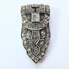 Stunning Antique Art Deco Silver and Diamond Paste Dress Clip