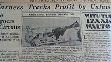 MAR 16, 1930 NEWSPAPER #J5383- E. ROLAND HARRIMAN TROTTER + TROUT FISHING
