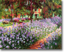 Claude Monet Irises in Monets Garden STRETCHED CANVAS Giclee Art Repro