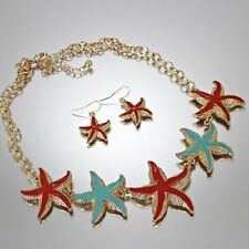 "Starfish Necklace, Sea Life, Gold Tone, Turquoise & Orange Enamel, 18"" long"