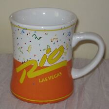 Las Vegas Rio Large Coffee Mug 14 oz Party Palm Trees Confetti Rare #DH61