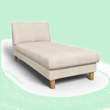 IKEA Karlstad Freestanding Chaise Lounge Linneryd Natural Cover Beige Slipcover