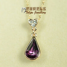 18CT Rose Gold GP Amethyst Teardrop Necklace W/ Genuine Swarovski Crystals