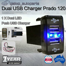Dual Blue USB Charger Switch Toyota Hilux Landcruiser 75 76 78 79 100 Prado 120