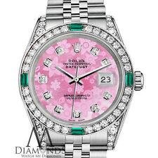 Ladies Rolex Datejust 26mm Stainless Steel Pink Flower MOP Diamond Emerald Watch