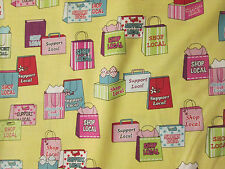 SHOPPING BAGS SHOP LOCAL SUPPORT SHOPS YELLOW COTTON FABRIC FQ