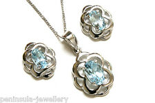 Sterling Silver Blue Topaz Celtic Pendant and Earring Set Made in UK Gift Boxed