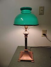 Antique Vtg  Brass Copper Table Desk  lamp Green Case Shade