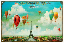 Reproduction Nostalgic Ballooning Over Paris 1890 Sign