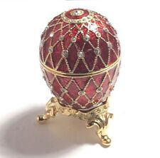 """RED DECORATED EGG JEWELRY TRINKET BOX, PEWTER, ENAMEL, AUSTRIAN CRYSTALS, 2.5""""T"""