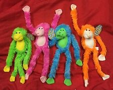 "Set Of 4 -16"" BRIGHT NEON PLUSH HANGING MONKEYS VELCRO HANDS Stuffed Animal"