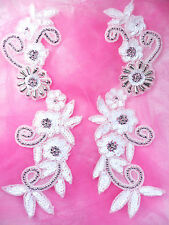 0183 Silver Accented White Sequined Mirror Pair Beaded Appliques Motif Patches