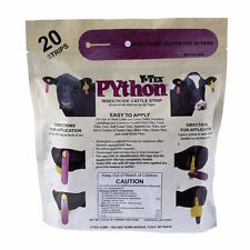 Y-TEX PYTHON STRIPS Insecticide Fly Slips Over Any 2-Piece ID Tag Cattle 20ct