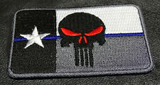 THIN BLUE LINE PUNISHER SKULL TEXAS FLAG POLICE TACTICAL 3 INCH VELCRO  PATCH