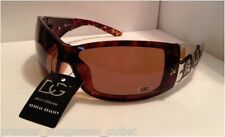 D.G. SUNGLASSES MENS & WOMENS DESIGNER WRAP BROWN TORT & CHROME SUNGLASSES UV400