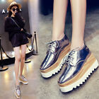 Fashion Women's Shiny Lace Up Flats Double Platform Creepers Shoes Wedge Oxfords