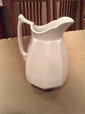 "J & G Meakin English White Ironstone Plain Huge 12"" Water Pitcher 1890's"