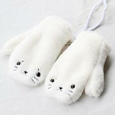 Girl's Cute Warm White Seal Dog Gloves Mittens Knitted Fleece Soft Students Amo
