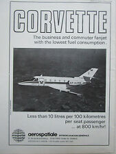 2/1974 PUB AEROSPATIALE AVION CORVETTE AIR ALPES REGIONAL AIRLINE ORIGINAL AD