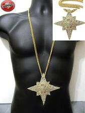 Cuban Chain 7 Star Illuminati Five 5 Percente Hip Hop Crystal Iced Out Necklace