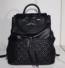 Tory Burch Fleming Quilted Leather Backpack Tote Leather Shouler Bag Black New