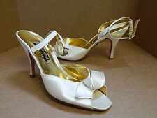 New Bruno Magli 10 B Ivory Satin Ankle Strap Jeweled Buckle Heels Italy