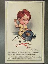 cpa illustrateur signée donald mc gill enfant couture