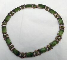 1960s IVAR T. HOLTH NORWAY STERLING SILVER GREEN GUILLOCHE ENAMEL NECKLACE