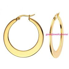 One Pair Women's Gold 316L Stainless Steel 35mm Flat Ring Hoop Earring Ear Studs