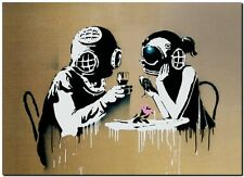 "BANKSY STREET ART *FRAMED* CANVAS PRINT Think Tank 18x12"" stencil -"