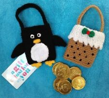 KNITTING PATTERN - Penguin and Christmas Pudding gift bags tree decorations