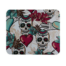 Day of the Dead Sugar Skulls & Hearts Mouse Pad Mat Computer Desk Accessories