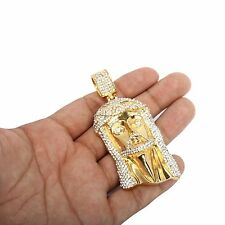 Mens Crowned Jesus Large Stainless Steel Gold Plated Iced Out Hip Hop Pendant