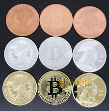 Lot 9 Pcs Bitcoin BTC Physical Coin Gold plated Silver plated Red copper New