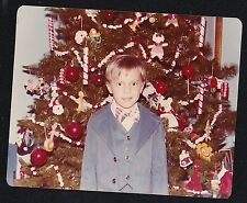 Vintage Photograph Little Boy in Suit & Bow Tie Standing By Christmas Tree 1978
