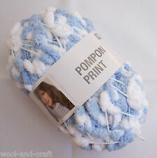 RICO DESIGN POMPON PRINT POMPOM SCARF YARN WOOL *200G BALL!* BLUE WHITE MIX (11)