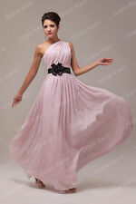 One Shoulder Long Chiffon Bridesmaid Evening Formal Party Cocktail Dress Gown