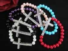 Crystal Cross Bracelet Pave pearl glass Bead New Beaded Many Colors   10PCS