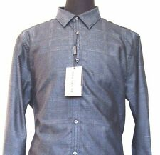 L-1420105 New Burberry London Navy Plaid Long Sleeved Dress Shirt Size XL