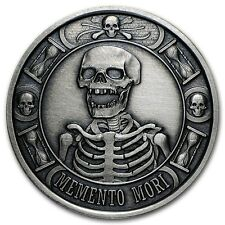 1 OZ SILVER COIN PROOF ANTIQUED MEMENTO MORI LAST LAUGH DEATH # ANONYMOUS MINT