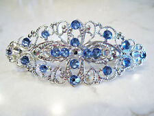 Silver filigree  hair clip barrette with blue crystals bridal hair clip