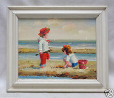 """Oil Painting """"Boy & Girl at the Beach"""" w. Pearl Color Vintage Style Wood Frame"""