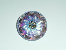 Pretty Czech Glass Button Middle Flower White Luster w/ Blue & Gold Finish 27mm