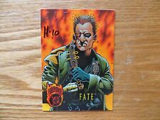 1996 DC OUTBURST FIREPOWER EMBOSSED FATE CARD SIGNED TONY HARRIS, WITH POA
