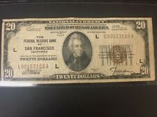1929 $20 National Currency Bill from The Federal Reserve Bank in San Francisco