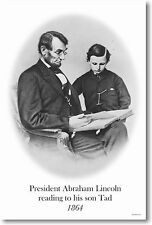 President Abraham Lincoln reading to his son Tad 1864 - New Vintage photo POSTER