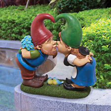 KISS AND TELL LOVER GNOMES STATUE DESIGN TOSCANO gnome statues  garden gnomes