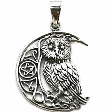 .925 Solid Sterling Silver Wise Moon Owl Sigil Celtic Pentagram Pendant P068